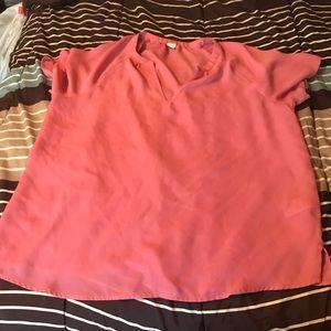 Pink short sleeve sheer top